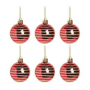 Bola de Natal Vermelha e Dourada Glitter 5 cm 6 Unidades