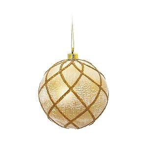 Bola de Natal Dourada Losango 8 cm 6 Unidades