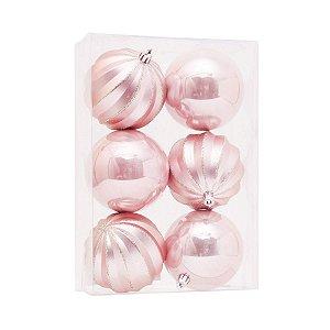 Bola de Natal Rose Gold 8 cm Gomos e Lisa 6 Unidades