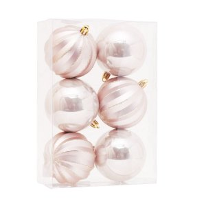 Bola de Natal Nude Gomos e Lisa 8 cm 6 Unidades