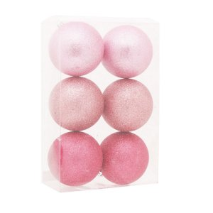 Bola de Natal Rosa com Glitter 10 cm 6 Unidades