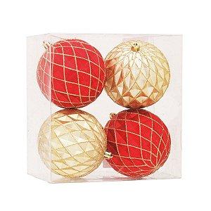 Bola de Natal Vermelha e Dourada 10 cm Losango com Glitter 4 Unidades