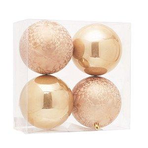 Bola de Natal Marfim 12 cm Brilho e Texturizada 4 Unidades