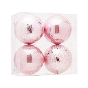 Bola de Natal Rosa Claro 12 cm Brilho e Craquelada 4 Unidades