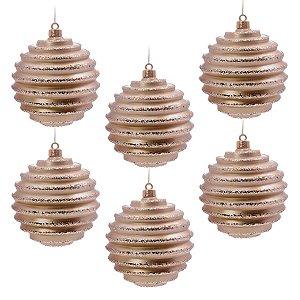 Bola de Natal Nude 8 cm Glitter Gomos 6 Unidades