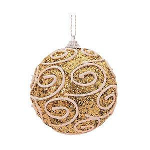 Bola de Natal Rose Gold Glitter com Arabesco Branco 8 cm 6 Unidades