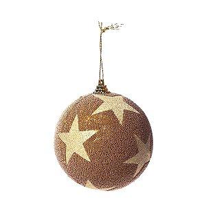 Bola de Natal Dourada Estrela com Glitter 8 cm 6 Unidades