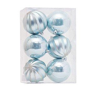 Bola de Natal Azul Claro 8 cm Gomos e Lisa 6 Unidades