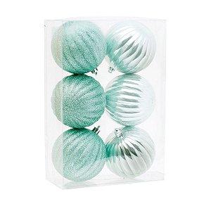Bola de Natal Verde Claro 8 cm Lisa e Glitter 6 Unidades