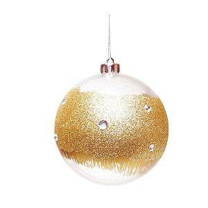 Kit Bola de Natal Transparente com Glitter Dourado 8 cm 6 Unidades