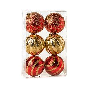 Kit Bola de Natal Dourada e Vermelha Gomos 8 cm 6 Unidades
