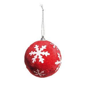 Kit Bola de Natal Vermelha Floco de Neve Branco 8 cm 6 Unidades