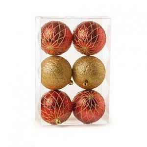 Kit Bola de Natal Vermelha e Dourada com Glitter 8 cm 6 Unidades