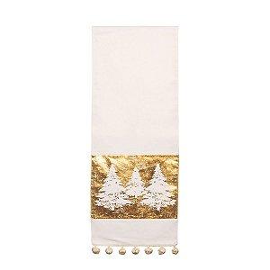Caminho de Mesa de Natal Branco e Dourado 33 x 180 cm
