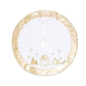 Saia para Árvore de Natal Dourada com Branco 70cm