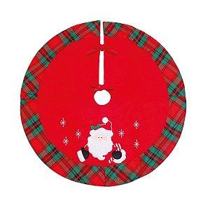 Saia para Árvore de Natal Vermelha Xadrez com Papai Noel 70 cm