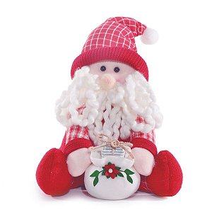 Boneco Papai Noel Decorativo Sentado Vermelho Cinnamon 25cm