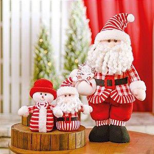 Boneco Papai Noel Decorativo Casaco Xadrez Vermelho e Branco 50cm