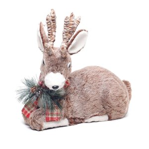 Rena de Natal Decorativa Deitada Manchester 35 cm