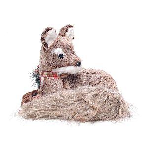 Raposa de Natal Decorativa Deitada com Fita Xadrez 22cm