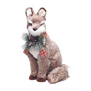Raposa de Natal Decorativa em Pé 43cm
