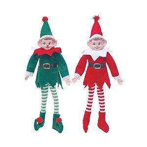 Casal de Elfos Vermelho e Verde 30cm