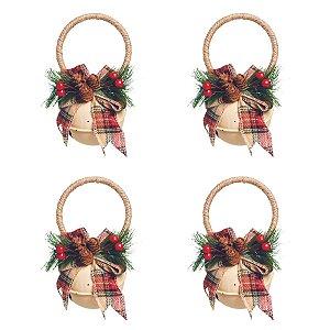 Enfeite de Natal Guizo Creme 16cm Jingle Bells 4 Unidades