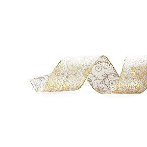 Fita de Natal Cromus Juta com Arabesco Dourado 6,3cm x 9,14m