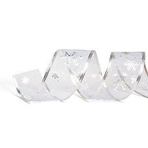Fita de Natal Cromus Voal Transparente Flocos Prata 6,3cm x 9,14m