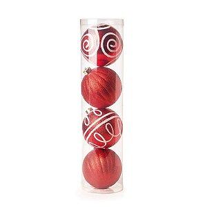 Kit Bola de Natal Vermelha com Branco 12cm 4 Unidades