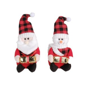Enfeite para Árvore Jogo Papai Noel e Boneco de Neve 18cm