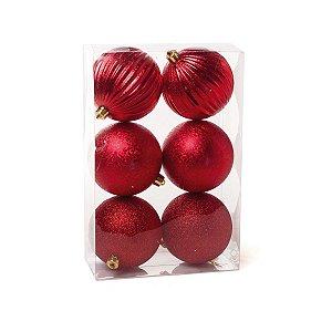Bola de Natal Cromus Vermelha 10 cm Glitter, Texturizada e Listras 6 unidades