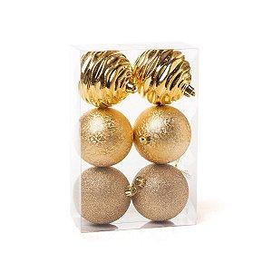 Bola de Natal Cromus Dourada Ouro 8 cm Glitter, Texturizada e Ondas 6 unidades