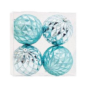 Bola de Natal Cromus Azul Claro 10cm Brilho e Fosca 4 Unidades