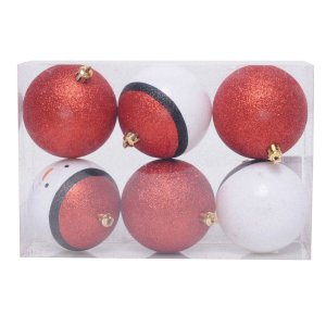 Conjunto Bola de Natal Cromus Boneco de Neve 8 cm 6 Unidades