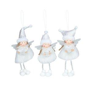 Enfeite para Árvore Trio de Anjos Branco 22cm 3 Unidades Sortidas