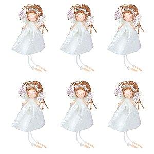 Enfeite para Árvore Trio de Anjos Vestido Branco 17cm 6 Unidades