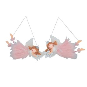 Enfeite para Árvore Anjo Dolls Vestido Rosa 19cm 2 Unidades