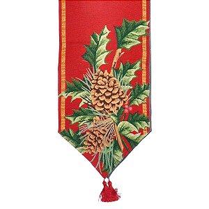 Caminho de Mesa de Natal Vermelho Pinhas 33 x 180 cm