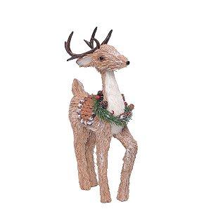 Rena de Natal Decorativa em Pé Guirlanda no Pescoço 47 cm
