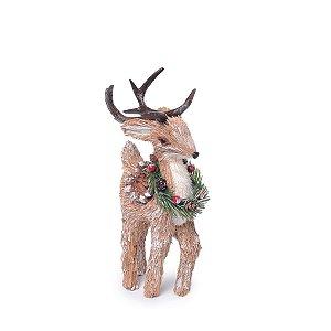 Rena de Natal Decorativa em Pé Guirlanda no Pescoço 32 cm