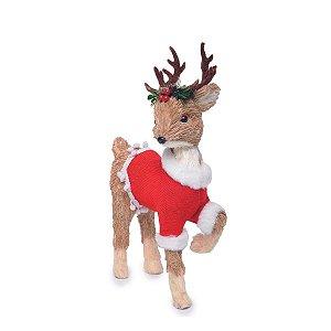 Rena de Natal Decorativa em Pé Roupa Vermelha 43 cm