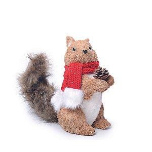 Esquilo de Natal Decorativo com Cachecol Vermelho 32 cm