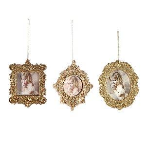 Enfeite para Árvore Mini Porta Retrato Dourado Jogo c/3