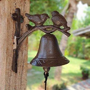 Sino Decorativo Ferro Fundido Casal de Pássaros