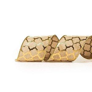 Fita Natalina Aramada Natural com Dourado Colmeia 6,3cm x 9,14m