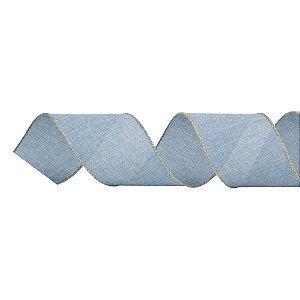 Fita Natalina Aramada Juta Azul Claro 10cm x 9,14m