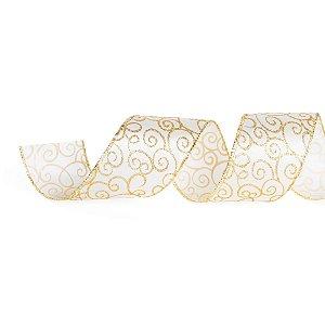 Fita Natalina Branca com Arabesco Dourado 6,3cm x 9,14m