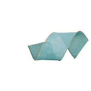 Fita Natalina Azul Turquesa com Borda Dourada 6,3cm x 9,14m