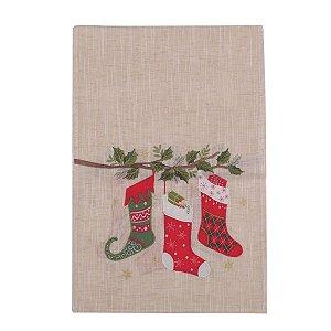 Caminho de Mesa de Natal Cromus Marfim Botas de Natal 40 x 174 cm